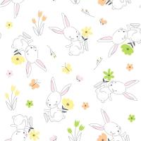 Servietten 33x33 cm - Rabbit in flowers