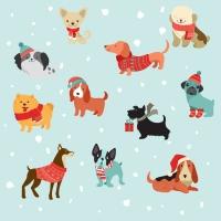 Servietten 33x33 cm - Merry Dogs