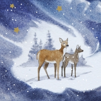 Servietten 33x33 cm - Blue Deers