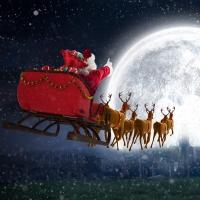 Servietten 33x33 cm - Flying Santa