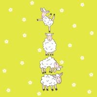 Servietten 33x33 cm - Hoppy lambs