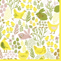 Servietten 33x33 cm - Bunnies & chicks