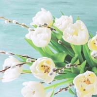 Servietten 33x33 cm - White tulips
