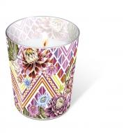 Glaskerze - Mexican flowers
