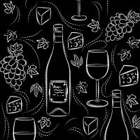 Servietten 33x33 cm - Wine and cheese