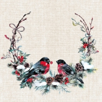 Servietten 33x33 cm - Birds in wreath