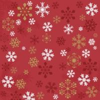 Servietten 33x33 cm - Traditional snow red