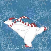 Servietten 33x33 cm - Polarbear skate