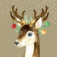 Servietten 24x24 cm - Deer Baubles