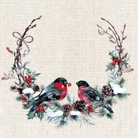 Servietten 24x24 cm - Birds in wreath