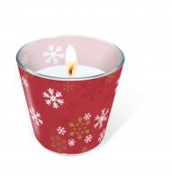 Glaskerze - Traditional snow red