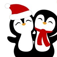 Gestanzte Servietten - Silhouettes Penguin Santas
