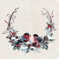 Servietten 40x40 cm - Birds in wreath