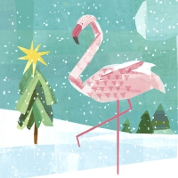 Servietten 33x33 cm - Winter flamingo