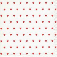 Servietten 33x33 cm - Moments Petits coeurs red