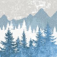 Servietten 33x33 cm - Forest silhouette blue