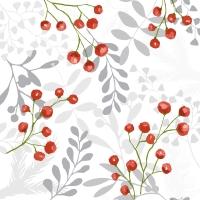 Servietten 33x33 cm - Red berries