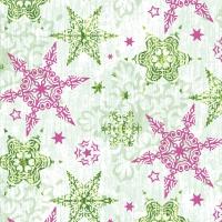 Servietten 33x33 cm - Delicate stars green