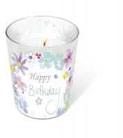 Glaskerze - Glaskerze Birthday flowers