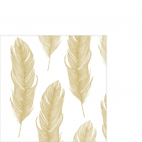Servietten 25x25 cm - Elegant Feather gold