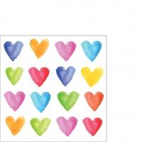 Servietten 25x25 cm - Aquarell Hearts