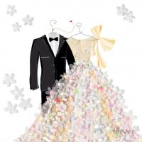 Servietten 25x25 cm - Bride & Groom