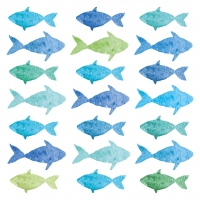 Servietten 25x25 cm - Aquarell Fishes