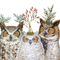Servietten 25x25 cm - Holiday Hoot