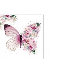 Servietten 25x25 cm - Butterfly Flowers