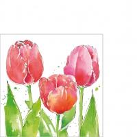 Servietten 25x25 cm - Pink Tulips