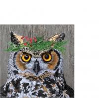 Servietten 25x25 cm - Winter Berry Owl Napkin 25x25