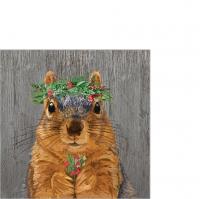 Servietten 25x25 cm - Winter Berry Squirrel Napkin 25x25