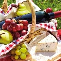 Lunch Servietten Cheese Wine & Grapes