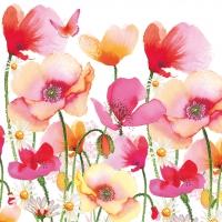 Servietten 33x33 cm - Aquarell Poppies & Daisies