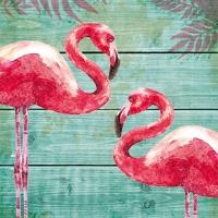 Servietten 33x33 cm - Summer Flamingos