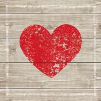 Servietten 33x33 cm - Herz aus Holz