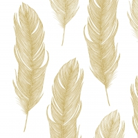 Servietten 33x33 cm - Elegant Feather gold