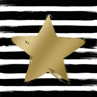 Servietten 33x33 cm - Star & Stripes black/gold