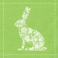 Servietten 33x33 cm - Flowers Rabbit lime