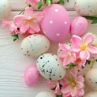 Servietten 33x33 cm - Easter Pink eggs