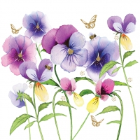Servietten 33x33 cm - Violet Pansies