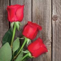 Servietten 33x33 cm - Rote Rosen auf Holz