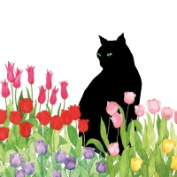 Servietten 33x33 cm - Black Cat Tulips FSC