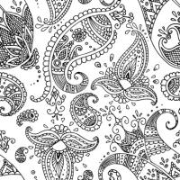 Servietten 33x33 cm - Paisley weiß schwarz
