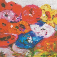 Servietten 33x33 cm - Flowers on canvas