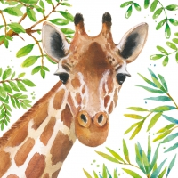 Servietten 33x33 cm - Tropical Giraffe