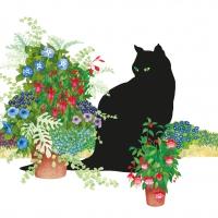 Servietten 33x33 cm - Black Cat Flower Pot