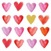 Servietten 33x33 cm - Aquarell hearts