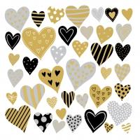 Servietten 33x33 cm - Golden Hearts