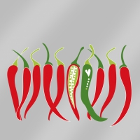 Servietten 33x33 cm - Chillies Silber